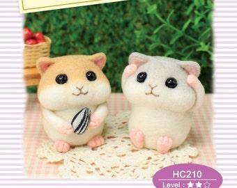 Needle Felting DIY Wool Felt Kit Chubby little hamster : English Material Kit
