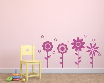 Vinyl Wall Decal Set of 4 Flowers - Child's Room Vinyl Wall Decal  - Baby's Room Vinyl Wall Decal - Flowers Wall Decals - Flower Vinyl Decal