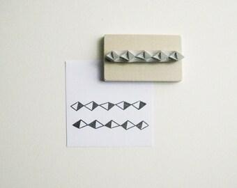 Geometric Diamond Border Hand-Carved Stamp