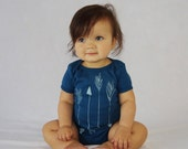 Arrows in Blue | Organic Baby One Piece | Screen Printed Baby Clothing | Baby Bodysuit | Organic Baby Clothes | Unisex One Piece | Baby Tee