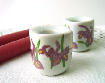 Set of Two Vintage Easter Ceramic Mini Candle Holders with Candles - Funny Design - Germany - Iris - Flowers