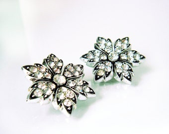 Vintage Clear Rhinestones Silver Tone Flower Clip on Earrings Japan