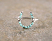 Turquoise Horseshoe Ring in Silver Aluminum