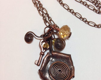"""Copper Charm Necklace with  Crystals and Handmade Copper Charms 2"""" Long on Antique Copper Adjustable 22"""" Chain Previously 35 Dollars ON SALE"""