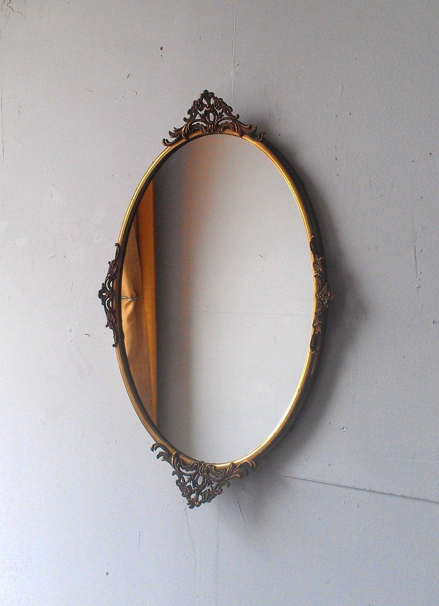 Antique Oval Mirror In Large Ornate Brass Frame 23 By 15