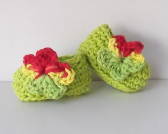 Lime Green...Ballet Flat...Girl or Boy Version...Newborn Size..Tie Dye Flower Accent...Ready to Ship...Perfect Gift..Hippie Baby.