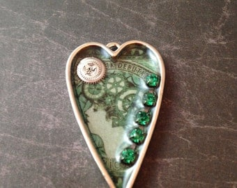 Silver Heart Green Steampunk Necklace