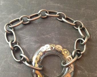Resin Clockwork Clutter Ring Bracelet