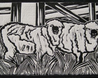 Sheep - Original Woodblock Print (Gray, White or Orange)