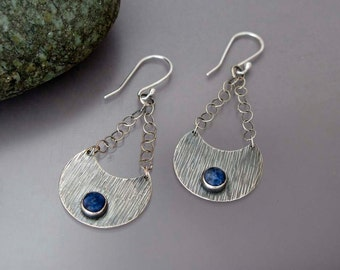 Blue Crescent Earrings - Textured Sterling Silver Chandelier Earrings with Denim Blue Sodalite Stones -ready to ship