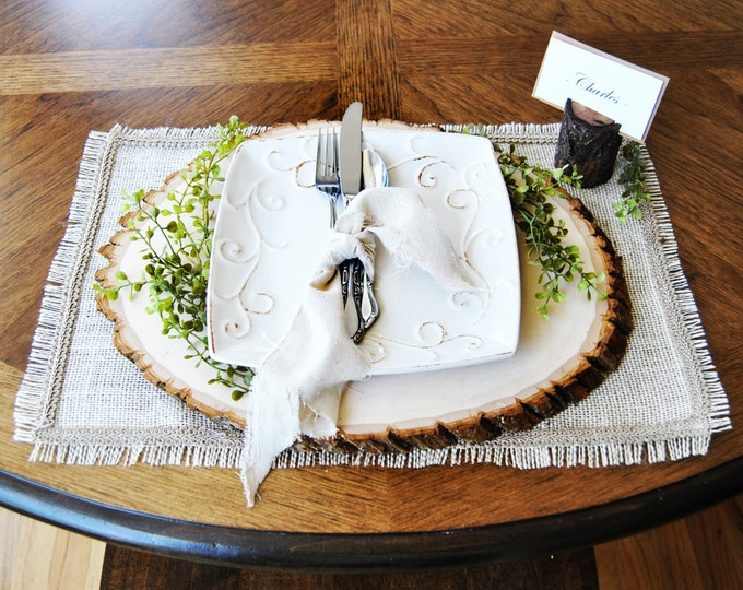 "Burlap placemat with frayed edges and decorative trim 12"" x 18"" size"