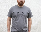 Cat Dad T-Shirt - Charcoal Gray Hand Silkscreened Short Sleeve Tee for Men Who Love Their Cats