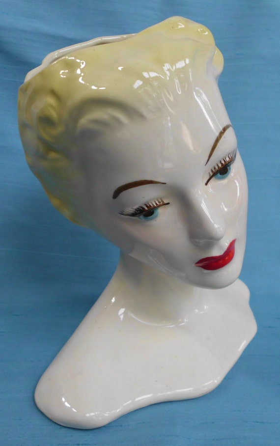 Vintage Head Vase Antique Lady Blonde 1940s 40s By Identityvintage