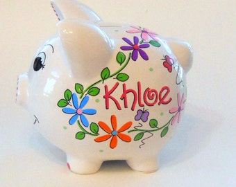 Personalized Piggy Bank Bright Vine Daisies