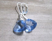 Ceylon Sapphire Earrings, Blue Ceylon Quartz Briolette,  Sterling Silver,  September Birthstone Jewelry
