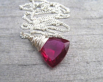 Hot Pink Necklace,  AAA Rubelite Quartz,  Pink Stone Pendant,  Wire Wrapped In Sterling Silver