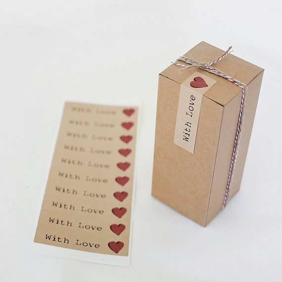 Set of 20  Kraft Stickers-  WITH LOVE