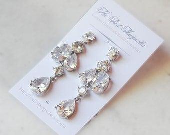 Cubic Zirconia Chandelier Earrings, Crystal Bridal Earrings, Long Wedding Earrings - EVANNA