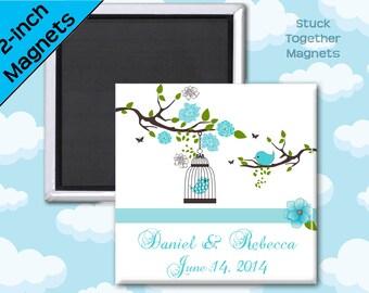 Romantic Wedding Favor Magnets - Blue Birds - 2 Inch Squares - Set of 10 Magnets