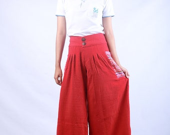 100 percent hemp wide leg pants batik/embroidery for Women Red Orange