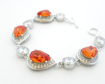 Orange Wedding Bracelet, Tangerine Bridal Bracelet, Crystal Bracelet Wedding, Statement Bracelet Swarovski Bracelet Bridal, Art Deco Jewelry