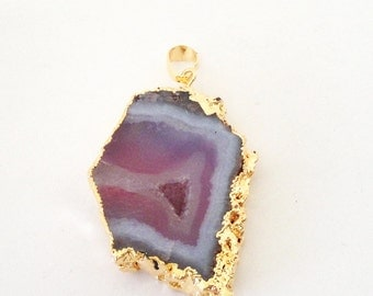 Purple Druzy Pendant - Druzy Hollow Center - Crystal Quartz Dipped in Gold - Flat Stone Teardrop - Druzy Jewelry- Select With/ Without Chain