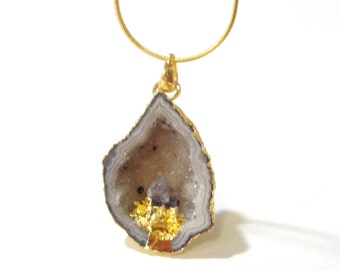 Geode Druzy Pendant - Crystal Agate Teardrop - Amethyst Point Inlaid Inside - Edged Gold - February Jewelry -Select With/ Without Chain.