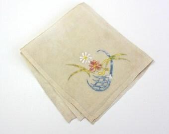 Vintage 40s Silk Handkerchief Embroidered Floral Ladies Hankie Hanky