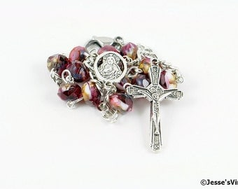 Auto Rosary Pocket Red Black Cherry Sundae Czech Picasso Bead 1 Decade Silver