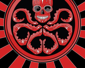 "Red Skull ""Hail Hydra"" Sugar Skull Print 11x14 print"