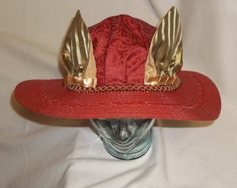Red Picture Hat with Animal Ears