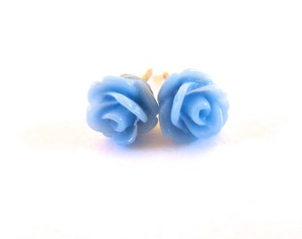 Tiny Periwinkle Rose Stud Earrings- Surgical Steel or Titanium Post Earrings- 7mmBlack Friday Sale 20% Off