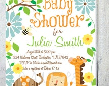 Rainforest Buddies, Birthday or Baby Shower Invitations, Set of 10 Personalized and Professionally Printed