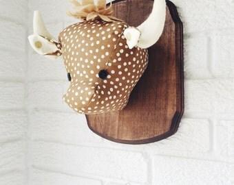 Plush taxidermy bison, custom, buffalo, whimsical nursery decor
