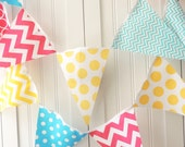 Banner, Bunting, Fabric Pennant Flags, Aqua Blue, Hot Pink, Yellow Garland Chevron, Polka Dot, Baby Girl Nursery Decor, Photo Prop, Birthday