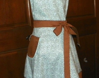 Retro Style Double Skirt Apron Brown Dots on Blue