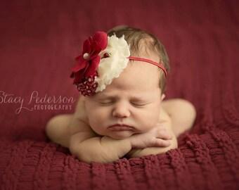 Madeline-vintage inspired crimson and ivory chiffon flower and rosette headband