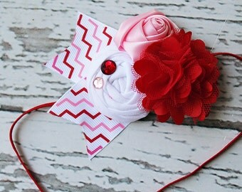 Love in the Hair - red pink and white rosette and bloom Valentine's headband in pink red and white