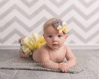 Tweet Heart- grey and yellow rosette and silk flower headband with bow