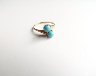 Antique Victorian Moi et Toi Ring With Turquoise Glass c.1880s