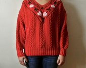 Vintage Christmas Sweater Red Sweater with White and Green Holly Ugly Christmas Sweater One Size Fits All Gift For Her