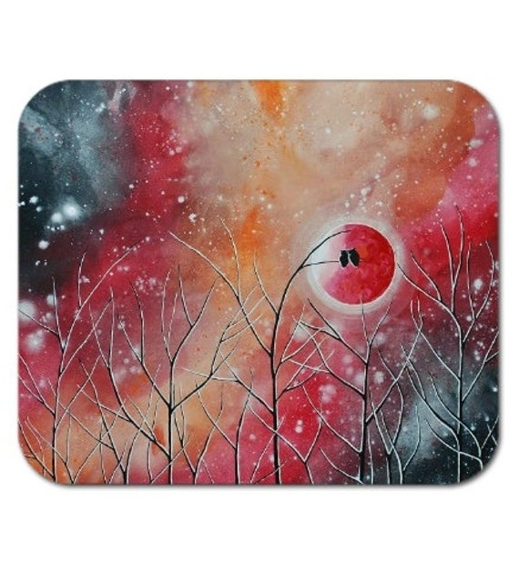 Mousepad Mouse Pad Fine Art Painting Crimson Owl Nights Red Orange Night Sky Stars Starry Moon Two Owls Love Romance Trees Moonlight