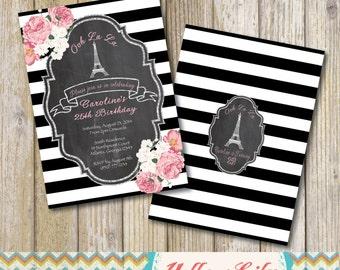 Vintage Paris Party Invitation- DIY, Printable, birthday, baby shower, bridal shower, chalkboard,