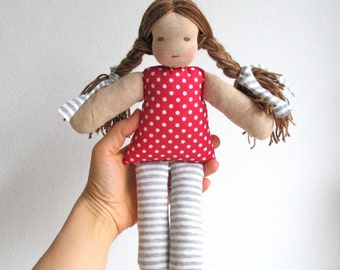 Organic rag doll, 11 inch, soft doll, Waldorf, long hair, brown eyes, polka dots, stripes, red, grey, gray