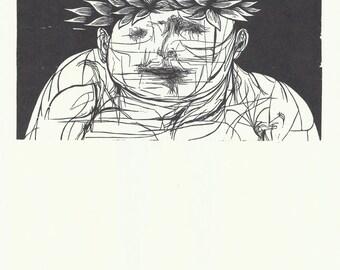 Midcentury Art, Leonard Baskin, Black and White Print, Wood Cut, Jewish Artist, Modern Art, 1950s Art, The Poet Laureate, The Hanged Man