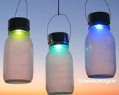 1 Rotating Color Solar Jar Lantern Mason Jar with Hanging Color Changing Solar Light, Rainbow Garden Outdoor Lights
