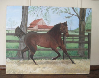 vintage 1980s horse painting, ALLEGED CHAMPION RACEHORSE, signed by artist - amateur, folk art, thoroughbred, equestrian, barnyard chic