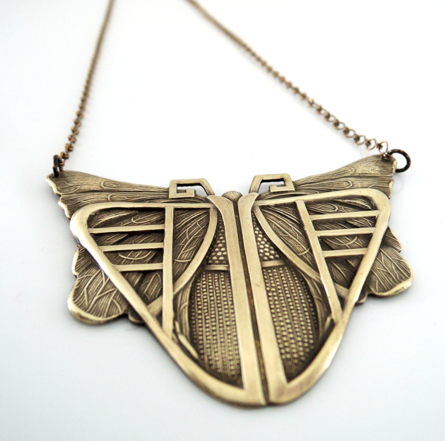 Vintage Necklace Art Deco Jewelry Butterfly Necklace