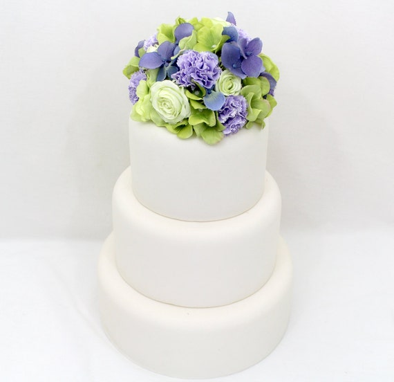 fake flower wedding cake toppers wedding cake topper green hydrangea purple hydrangea 14117