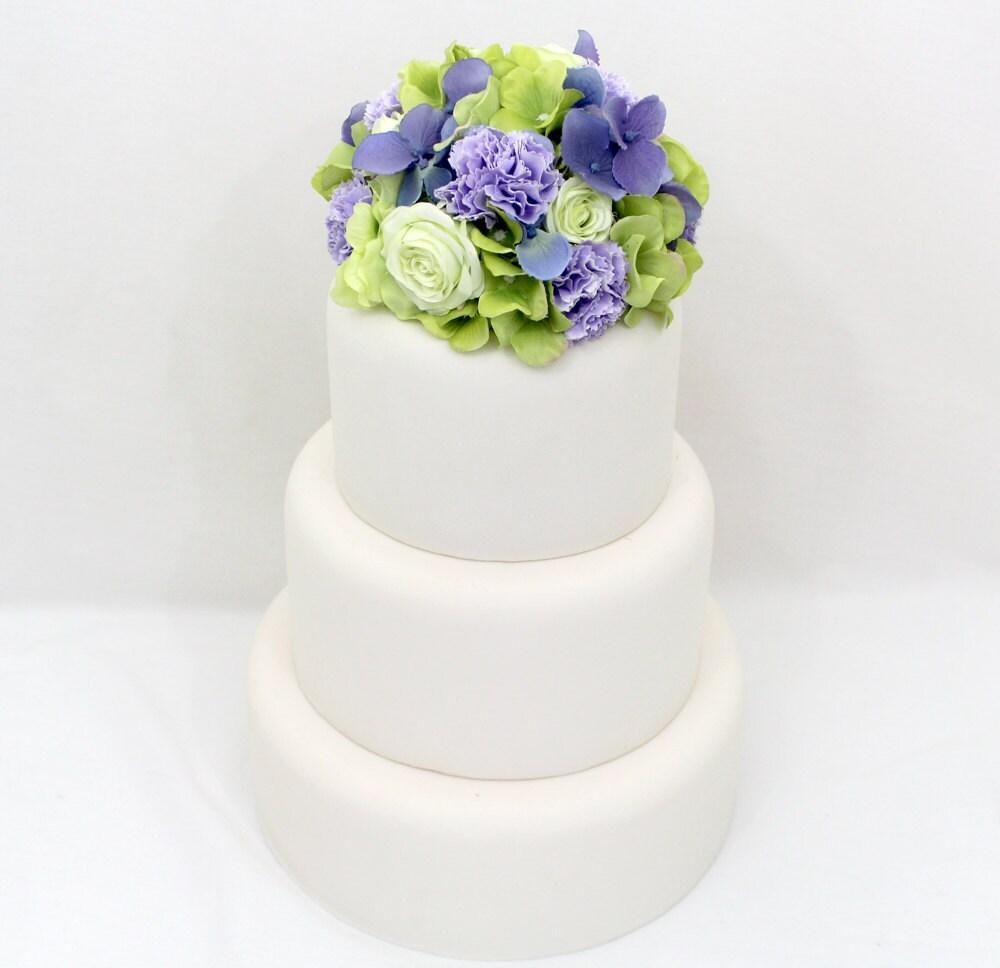 Wedding Cake Topper Green Hydrangea Rose Purple Hydrangea